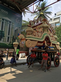 Local New Years festival. Flower chariots.